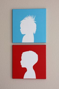 How to do canvas silhouettes, DIY home decor, decoration, wall art Diy Projects To Try, Crafts To Do, Art Projects, Crafts For Kids, Arts And Crafts, Canvas Silhouette, Kids Silhouette, Silhouette Painting, Art Club
