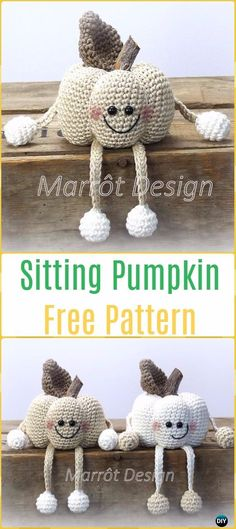Crochet Sitting Pumpkins Free Pattern -Crochet Halloween Amigurumi Free Patterns