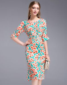 VIPme (VIPSHOP Global) - DFFD Orange Drop Printed Bell Sleeve Sheath Chiffon Midi Dress - AdoreWe.com