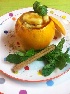 Naranja rellena de crema pastelera a la naranja