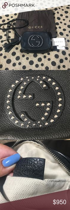Authentic Gucci Disco Soho Rare Silver Studded Disco Soho in excellent condition comes with dustbag and tags. PRICE IS FIRM ON POSH AND NO TRADES Gucci Bags Crossbody Bags