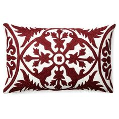 Check out this item at One Kings Lane! Kajal 14x20 Embroidered Pillow, Burgundy