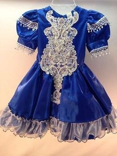 Pageant Dress Girls Size 5 Blue Vintage Glitz 80s