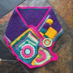 Crochet  free form statement neck warmer bright by FiBreRomance
