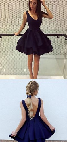 Cute V Neck Open Back A Line Knee Length Homecoming Dress M544 - Ombreprom