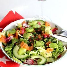 Salade truite fumée et fèves