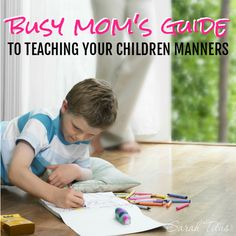 Have you ever wondered how some children act one way in public while others act a completely different way? Do you want to teach your children manners, but don't know where to start and don't have to time to learn all the ins and out of manners. This busy mom's guide to teaching your children manners is for you!