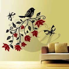 With this Bird With Flowers Wall Sticker Decal you can decorate your walls in one of the most modern and elegant ways