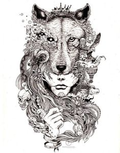 Printable Wolf Coloring Pages for Adults | wolf mural kerby rosanes Doodle Coloring pages colouring adult ...