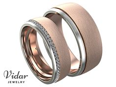 matching wedding bands,His and Hers Wedding Band Set,unique matching wedding bands,Unique Ring,Two Tone Wedding Bands,Brushed Wedding Band by Vidarjewelry on Etsy