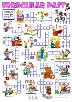 IRREGULAR PAST - a crossword - English ESL Worksheets for distance learning and physical classrooms Grammar For Kids, Grammar Games, Teaching English Grammar, English Vocabulary, Irregular Past Tense, Irregular Verbs, English Games, English Activities, English Lessons