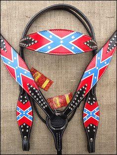 SKU-HILASON-WESTERN-LEATHER-HORSE-BRIDLE-HEADSTALL-BREAST-COLLAR-CONFEDERATE-FLAG