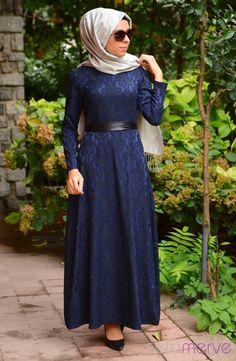 Tesettür Elbise WB 5409-01 Lacivert