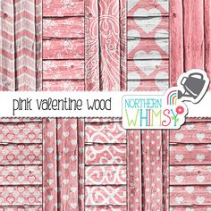 Pink Valentine's Digital Paper – pink wood digital paper with heart pattterns…