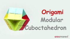 How to make a Cuboctahedron with 12 square papers. Difficulty : ★ ★ ☆ ☆ ☆ (easy) Used : cm 80 gr paper. Origami Folding, Origami Art, Paper Folding, Origami Geometric Shapes, Paper Art, Paper Crafts, Origami Tutorial, Kirigami, Creative
