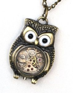 *Gasp* Two of my favorites! Owls and exposed watch gears and cogs!