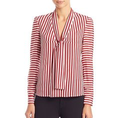 RED Valentino Striped Silk Tie-Neck Blouse ($520) ❤ liked on Polyvore featuring tops, blouses, apparel & accessories, red, silk neck ties, red blouse, stand collar blouse, tie neck blouse and tie blouse