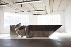 Thames Ribbon Bar x x corian, steel, timber & liquid metal Based Upon Hotel Reception Desk, Reception Desk Design, Lobby Reception, Reception Counter, Reception Areas, Reception Table, Lobby Interior, Interior Architecture, Counter Design