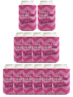 Funny Beer Coolie I Wish I Was Full of Beer Instead of These Emotions Cute Girls Night Drinking Gag Gift 12 Pack Can Coolie Drink Coolers Coolies Pink Chevron >>> Check out the image by visiting the link.