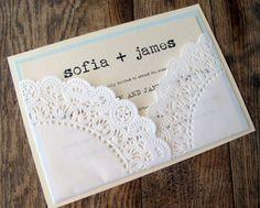 Wedding Invitation Vintage Lace Doily Pocket. $5.50, via Etsy.