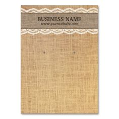 Rustic Burlap Lace Earring Display Cards