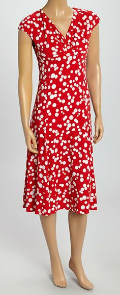 Red  White Polka Dot Cap-Sleeve Dress