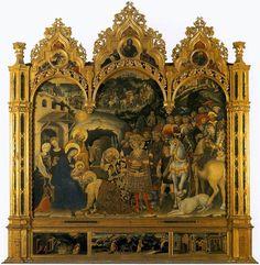 """""""La Adoración de los Reyes Magos"""". Una de las pinturas más representativas del estilo gótico internacional, realizada por el pintor italiano Gentile Fabriano. Es un retablo que se encuentra en la Galería de los Uffizi, Florencia. Está realizado con témpera sobre madera, data de 1423 y mide 2,03 m x 2,82 m."""