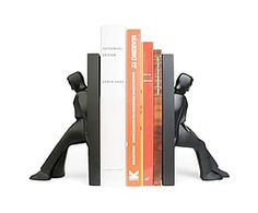 Подставка для книг LEANING MEN - металл - черный - Д12,8хШ9хВ20