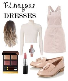 """Pinafore Dress"" by amy1907murray ❤ liked on Polyvore featuring New Look, A.L.C., Steve Madden, Tom Ford, MAC Cosmetics, Olivia Burton, pinafores and 60secondstyle"
