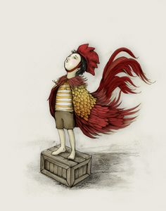 [IMG.5] By Catherine Lazar Odell, This illustration is from Jennifer Coughlin's Children's book 'The Great Impersonator'  The simple, cartoony style is very fitting for a children's book illustration, and very well done. The vibrant red of the rooster costume draws the eye, and the flow of the material dictates movement in the image.