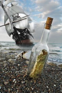 Arrgggh, a pirate ship be near. Hurry! Get the message in a bottle - it has the bearings for a treasure of silver and gold.  Pirates!