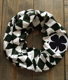 St Patricks Green Argyle Flannel Infinity Scarf by KutKloth
