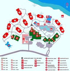 Find here a Property Map for the Memories Flamenco Beach Resort Beach Vacation Spots, Beach Resorts, Vacation Cuba, Cayo Coco Cuba, Bungalow, Beach Sunset Wallpaper, Resort Plan, Beach Pink, Map Layout