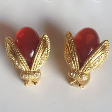 Gold plated satin finish ear clips in shape of FLY with carnelian col... Lot 972