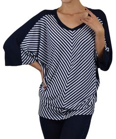 Ink Stripe Dolman Sweater by Sunny Crystal #zulily #zulilyfinds