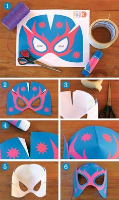 How to make lucha libre mask step by step photos. Quick guide on making this Lucha Libre paper mask. Download the free template and follow the tutorial. https://happythought.co.uk/craft/printables/how-to-make-lucha-libre-masks-free-templates