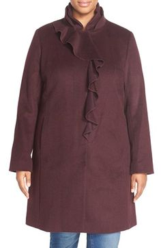 DKNY Ruffle Front Wool Blend Coat (Plus Size) available at #Nordstrom