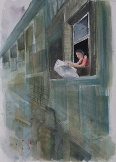 Urban Watercolor. Quirky minimalist painting. by CecileRancourtArt