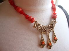 Royal Coral and Ruby Red Crystal Bead Necklace by theatticshop, $50.00