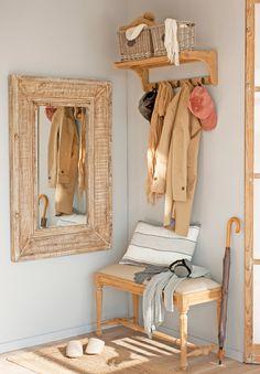 00454888 O. Recibidor con perchero con estante, espejo y banco de madera_00454888 O