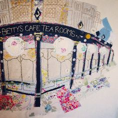 Bettys Tea rooms embroidery by Marna Lunt. Nx