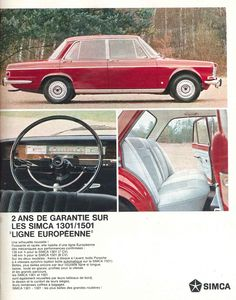 Simca 1301/1501. Elles succèdent aux Simca 1300 / 1500 dès 1966 et seront remplacées par les Simca-Chrysler 1307 / 1308 / 1309 en 1976 - Jours de France, 29 octobre 1966