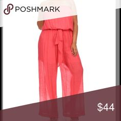 Jump suit Beautiful coral strapless jumpsuit. New with tags. Pants Jumpsuits & Rompers