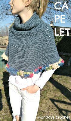 Mini-capa de crochet para principiantes. Patrón gratuito / Crochet capelet for beginners. Free pattern