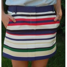 NWT J.Crew Preppy Striped Skirt Great preppy skirt, never worn. Fabulous thick fabric, new with tags! Make an offer! J. Crew Skirts Mini