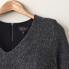 | Topshop Top Metallic v neck long sleeve top with exposed zipper.  In excellent condition. Topshop Tops