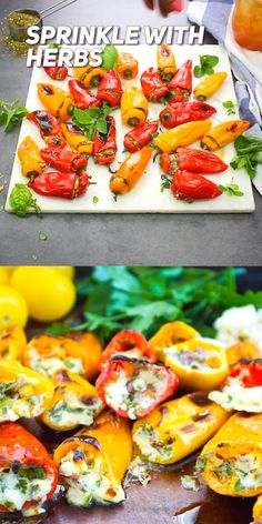 These bite-sized Feta Stuffed Peppers are bursting with spicy, tangy, sweet and zesty flavor. This delicious Mediterranean-style vegetarian finger food is ready in just 10 mins! recipes easy make ahead FETA STUFFED PEPPERS Vegetarian Finger Food, Vegetarian Appetizers, Appetizers For Party, Appetizer Recipes, Vegetarian Recipes, Healthy Recipes, Christmas Appetizers, Italian Finger Foods, Vegetarian Tapas