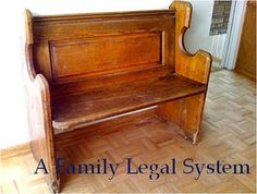 """I've heard about these before and also been desperate for one in our house. When a couple of children fight you sit them on the """"repentance bench"""" until they sort it out! I think a church pew is a bit much, but a lovely little rustic wooden one in the little cove beneath the stairs? Lovely!"""
