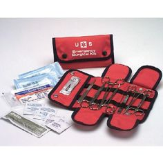 An emergency surgical and suture kit like this one could prove useful. You won't find these supplies in most first aid kits.