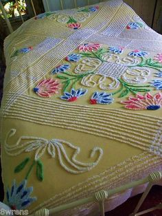 Absolutely gorgeous butter yellow floral vintage chenille bedspread. Love it!!!